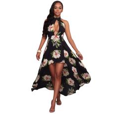 Fekete virág mintás maxi ruha
