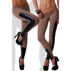 Barna-Fekete bőrhatású Leggings