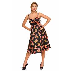 Fekete Pin-up virág mintás swing ruha