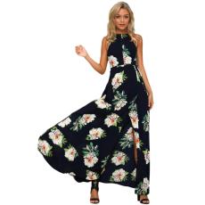 Csakcsajok Fekete virág mintás kivágott maxi ruha