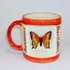 Ablakos bögre Pillangó (Fehér, narancs csíkkal)
