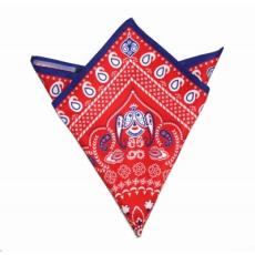 Krawat Díszzsebkendõ - Piros-kék mintás