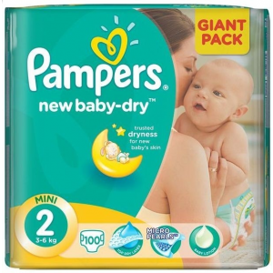 Pampers New Baby-Dry 2 Mini pelenka 3-6kg 100db