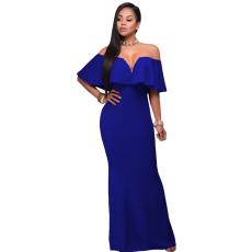 Csakcsajok Royal kék fodros váll nélküli maxi ruha