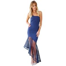 Nasy kék asszimetrikus maxi ruha