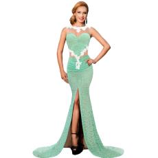 Zöld-fehér maxi ruha