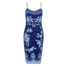 Kék,Virág mintás Ruha-Large