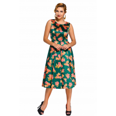 Zöld,vintage hatású virágos ruha