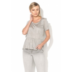 FRENCH CONNECTION Melange Szürke Peplum Póló XL (76HBI-MID-GREY-MEL-XL)