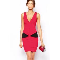 Rózsaszín-fekete v-kivágású peplum ruha