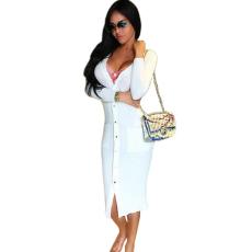 Fehér midi kardigán ruha