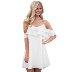 Fehér pántos fodros ruha vállnélküli