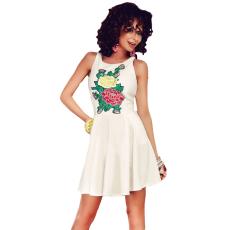 Fehér,hímzett hatású ruha