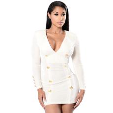 Fehér-arany kivágott ruha