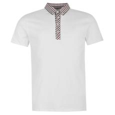 Soviet Collar férfi kockás galléros póló fehér M
