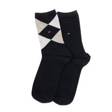 Tommy Hilfiger Th Women Check Sock 2p női magasszárú zokni kék 35-38