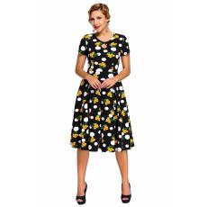 Csakcsajok Pöttyös-virágos fekete vintage ruha