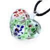Ragyogj.hu Muránói üveg medál, szív alakú, virágokkal - piros-kék