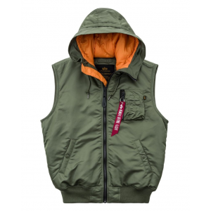 Alpha Industries Hooded MA-1 Vest - sage green