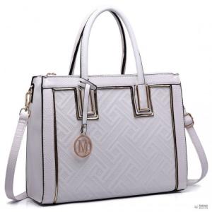 Miss Lulu London LT6622 - Miss Lulu emelt Cord bevásárló táska kézi táska szintetikus bőr fehér
