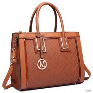 Barna Miss Lulu London LT6622 - Miss Lulu emelt Cord bevásárló táska kézi táska szintetikus bőr barna
