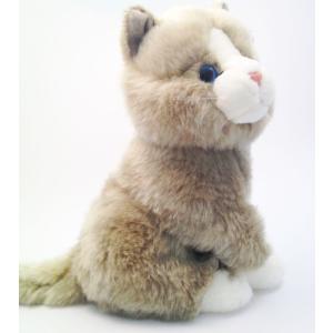Plüss cica szürke-fehér 17,5cm
