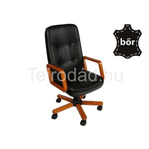 LIN-Executive Wood Boss vezetői bőrszék fa karfával