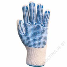 Euro Protection Kötött pes/pamut fehér férfi kesztyű, tenyerén kékpettyek -9