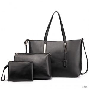Miss Lulu London L1435-1 - Miss Lulu nagyméretű válltáska 3-in-1 bevásárló táska táska fekete