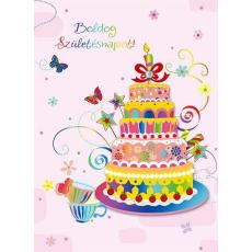 Ajándékkísérő kártya, Boldog Születésnapot! torta