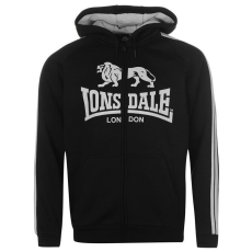 Lonsdale 2 Stripe férfi kapucnis cipzáras pulóver fekete 3XL