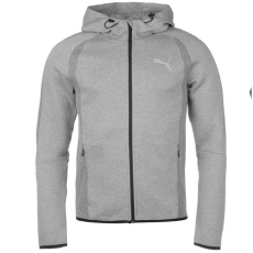 Puma EvoStripe Ultimat férfi kapucnis cipzáras pulóver szürke S