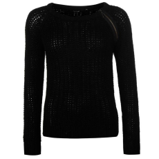 Golddigga Shoulder női cipzáras kötött pulóver fekete M