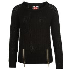 Lee Cooper Hem női cipzáras kötött pulóver fekete L