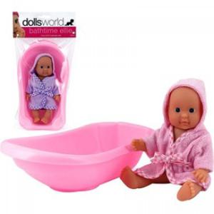 Dolls World Ellie fürdethető babakáddal - 18 cm, többféle változatban