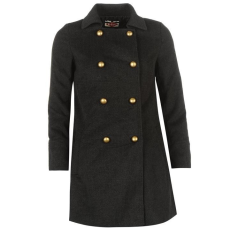 Lee Cooper női kabát , szürke - Lee Cooper Stud Button Coat Ladies