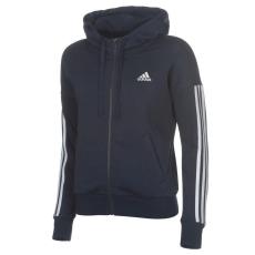 Adidas női cipzáras pulóver - adidas 3S FZ Hoodie - sötétkék/fehér