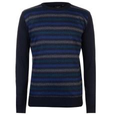 Pierre Cardin férfi pulóver, sötétkék/kék/szénszürke - Pierre Cardin Geo Knit Jumper Mens