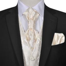 vidaXL Férfi Praisley esküvői mellény szett méret 48 krém szín