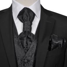 vidaXL Férfi Praisley esküvői mellény szett méret 50 fekete
