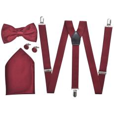 vidaXL Férfi szmoking kiegészítő- nadrágtartó & nyakkendő szett burgundi szín