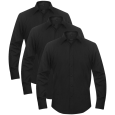 vidaXL 3 db férfi üzleti ing méret L fekete