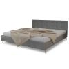 vidaXL Kiváló minőségű fa ágy szövetkárpittal 200 x 160 cm világosszürke