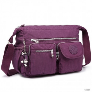 Cross Miss Lulu London E1732 - több zseb funkcionális Cross Body válltáska táska lila