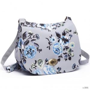 Miss Lulu London E6640-17F - Miss Lulu matt vászon Flower Print táska szürke