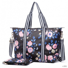 Miss Lulu London E6641-17F - Miss Lulumattte Oilcloth Foldaway Overnight táska Flower Print Midnight kék