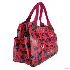 Miss Lulu London L1105B - Miss Lulu Oilcloth bevásárló táska táska pillangó Plum