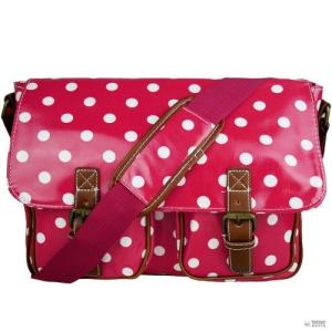 Miss Lulu London L1107D2 - Miss Lulu vászon táska Polka Dot Plum