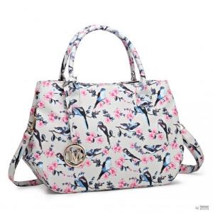 Miss Lulu London LH1633-16J - Miss Lulu matt vászon válltáska táska Bird Print bézs