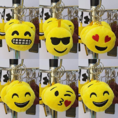 Emoji, Smiley kulcstartó 6 cm-es (Napszemcsis)